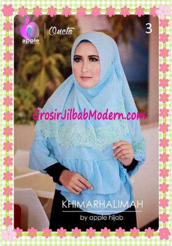 Hijab Syar'i Khimar Halimah Cantik Original By Apple Hijab Brand No 3 Baby Blue