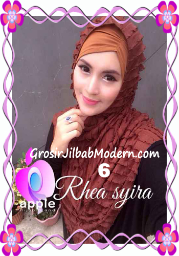 Jilbab Instant Modis Rhea Syria Ruffle Original by Apple Hijab Brand No 6 Coklat Tungtung