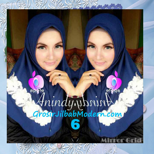 Jilbab Syria Anindya Bunga 3 Dimensi Original By Apple Hijab Brand No 6 Navy Blue