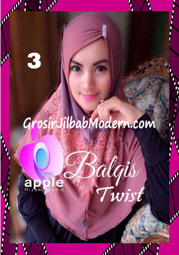 Jilbab Syria Cantik dan Mewah Balkis Twist Original by Apple Hijab Brand No 3 Coklat - Lilac