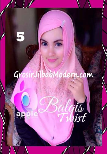 Jilbab Syria Cantik dan Mewah Balkis Twist Original by Apple Hijab Brand No 5 Dusty - Peach