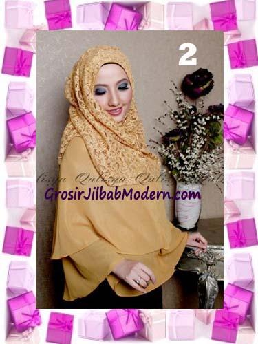 Khimar Pesta Instant Cantik Ghaida Syria Pashmina by Qalisya No 2 Gold