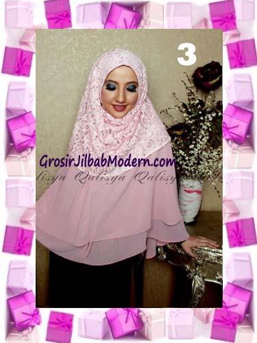 Khimar Pesta Instant Cantik Ghaida Syria Pashmina by Qalisya No 3 Dusty Pink