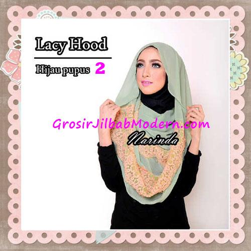 Jilbab Hoodie Instant Cantik Lacy Hood Original By Narinda No 2 Hijau Pupus