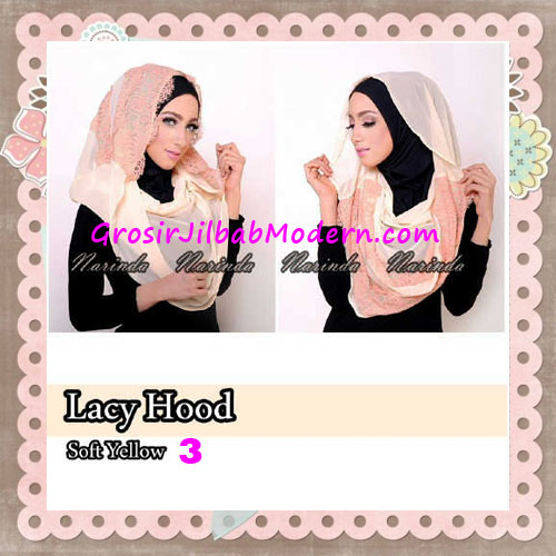 Jilbab Hoodie Instant Cantik Lacy Hood Original By Narinda No 3 Soft Yellow