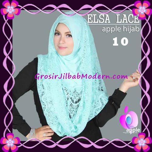 Jilbab Instant Terbaru Elsa Lace Hoodie Premium by Apple Hijab Brand No 10 Mint