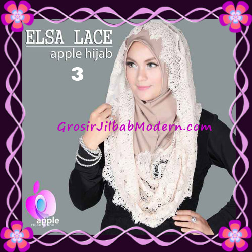 Jilbab Instant Terbaru Elsa Lace Hoodie Premium by Apple Hijab Brand No 3 Cream