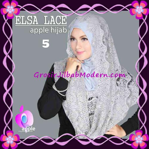 Jilbab Instant Terbaru Elsa Lace Hoodie Premium by Apple Hijab Brand No 5 Grey