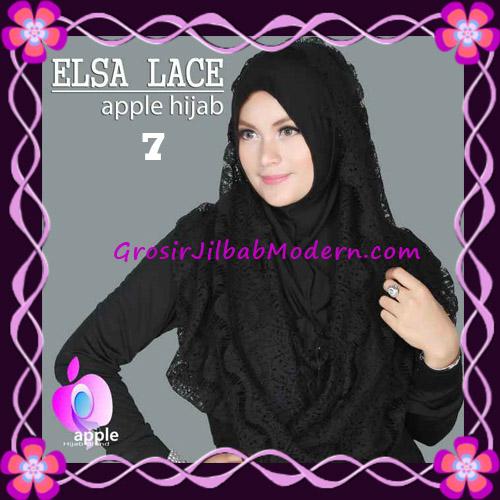 Jilbab Instant Terbaru Elsa Lace Hoodie Premium by Apple Hijab Brand No 7 Black