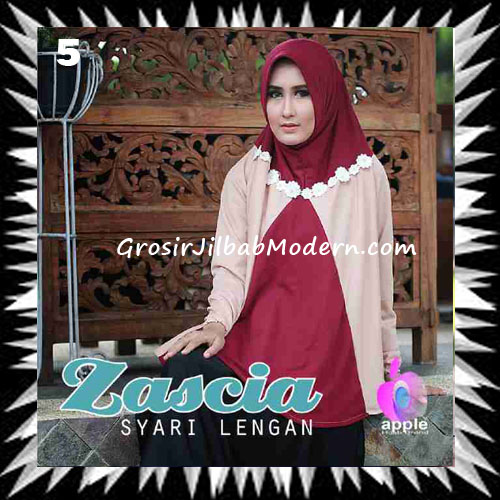 Jilbab Lengan Bergo Pet Syar'i Zascia Original by Apple Hijab Brand No 5 Maroon