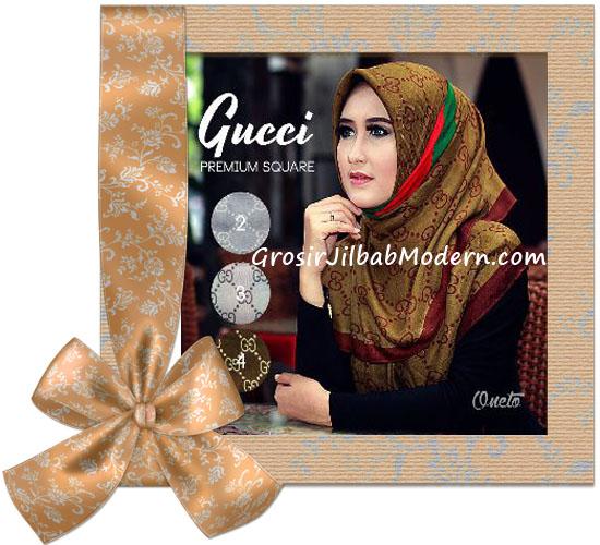 Jilbab Segi Empat Branded Gucci Premium