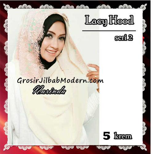 Jilbab Hoodie Instant Modern Trendy Lacy Hood Seri 2 Original By Narinda No 5 Krem