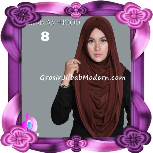 Jilbab Instant New Arabian Hoodie Simple dan Elegan By Apple Hijab Brand No 8 Dark Brown