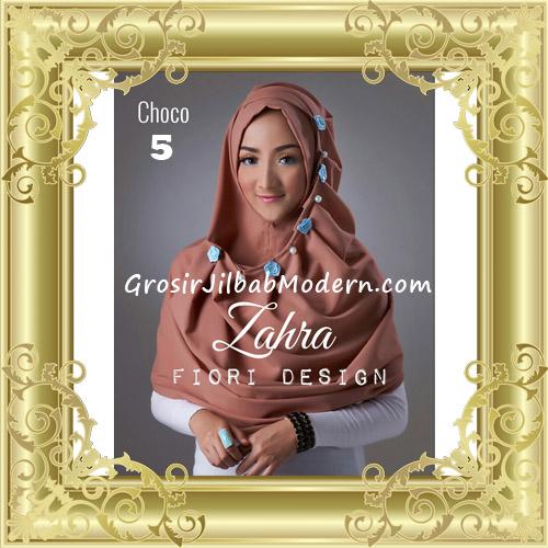 Jilbab Instant Syria Premium Zahra Terbaru By Fiori Design No 5 Choco