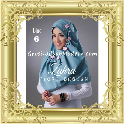 Jilbab Instant Syria Premium Zahra Terbaru By Fiori Design No 6 Blue