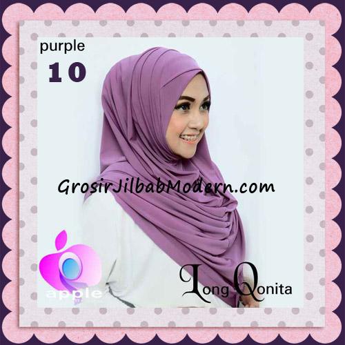 Jilbab Instant Syria Long Qonita Hoodie Cantik Original Apple Hijab Brand No 10 Purple