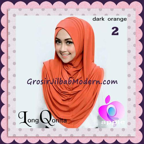 Jilbab Instant Syria Long Qonita Hoodie Cantik Original Apple Hijab Brand No 2 Dark Orange
