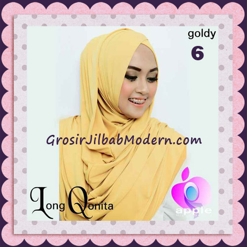 Jilbab Instant Syria Long Qonita Hoodie Cantik Original Apple Hijab Brand No 6 Goldy