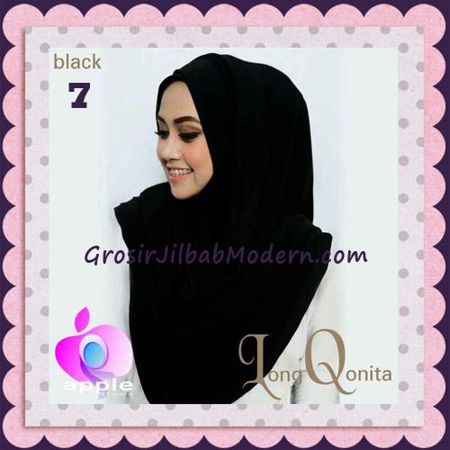 Jilbab Instant Syria Long Qonita Hoodie Cantik Original Apple Hijab Brand No 7 Black