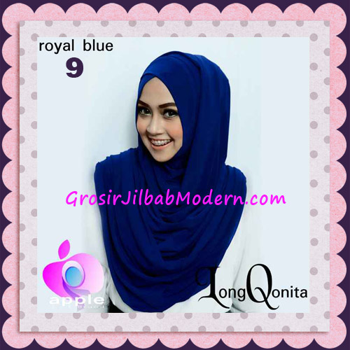 Jilbab Instant Syria Long Qonita Hoodie Cantik Original Apple Hijab Brand No 9 Royal Blue