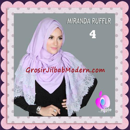 Jilbab Pashmina Instant Unik dan Cantik Premium Miranda Ruffle Original By Apple Hijab Brand No 4 Soft Lavender