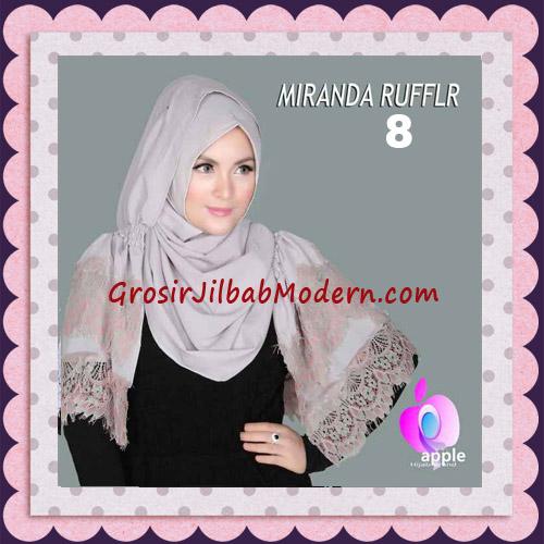 Jilbab Pashmina Instant Unik dan Cantik Premium Miranda Ruffle Original By Apple Hijab Brand No 8 Khaki