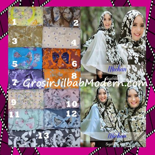 Jilbab Kombinasi Flower dan Polos Khimar Michan Tanpa Pet Original by Syahida Series