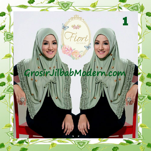 Jilbab Langsung Pakai Modis Syria Daily Studded Original Fiori Design No 1 Hijau
