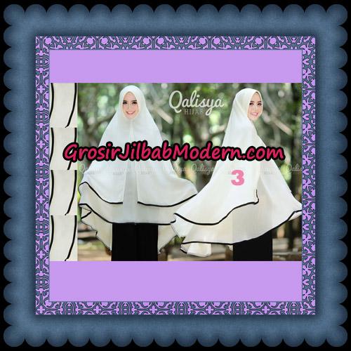 Jilbab Cerutti Jumbo Khimar Syar'i Taqiya Pet Ukuran XXL Seri 2 Original By Qalisya Brand No 3 Putih