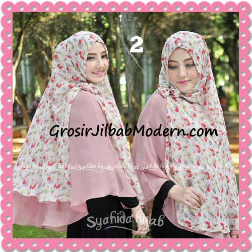 Jilbab Kombinasi Polos dan Flower Khimar Michan Non Pet Seri 2 Original by Syahida No 2