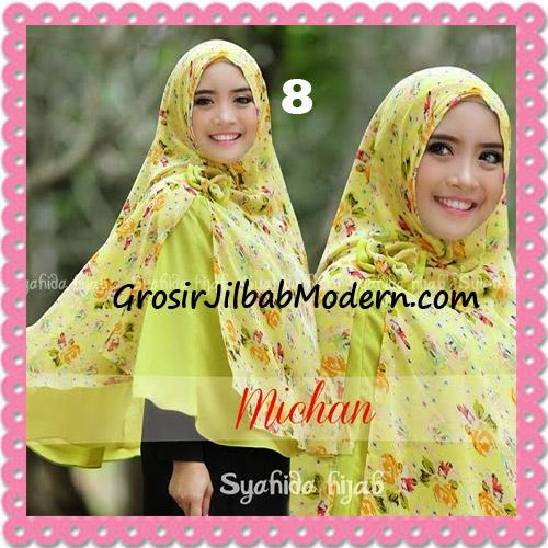 Jilbab Kombinasi Polos dan Flower Khimar Michan Non Pet Seri 2 Original by Syahida No 8