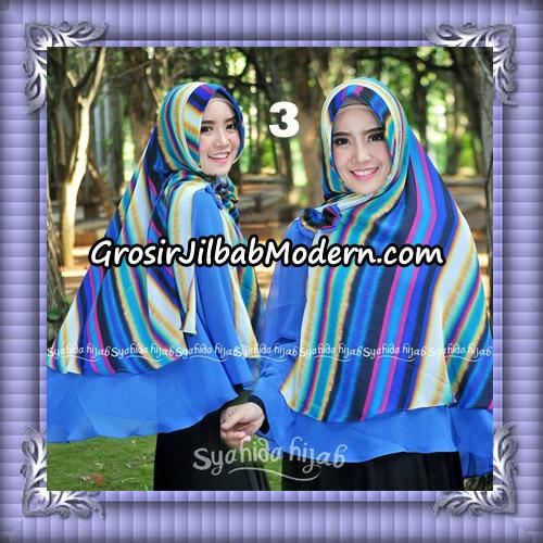 Jilbab Kombinasi Polos dan Flower Khimar Michan Pet Seri 2 Original by Syahida No 3