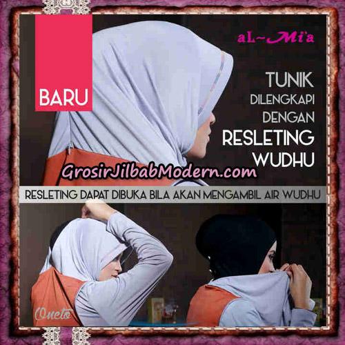 Jilbab Lengan Tunik Rompi Resleting Wudhu Original By Al-Mi'a Brand - Detail