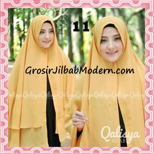 Jilbab Pashmina Khimar Lipit Cantik Original Qalisya Brand No 11 Kuning Kunyit