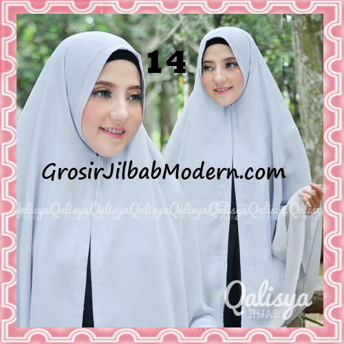 Jilbab Pashmina Khimar Lipit Cantik Original Qalisya Brand No 14 Silver