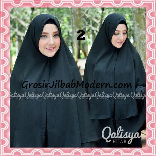 Jilbab Pashmina Khimar Lipit Cantik Original Qalisya Brand No 2 Hitam