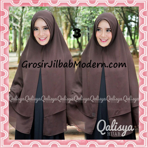Jilbab Pashmina Khimar Lipit Cantik Original Qalisya Brand No 3 Coklat Tua