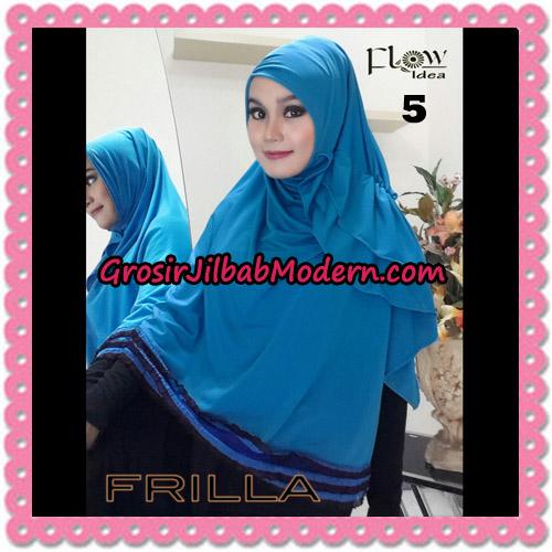 Jilbab Syar'i Cantik Tanpa Pet Syria Frilla Original By Flow Idea No 5 Biru