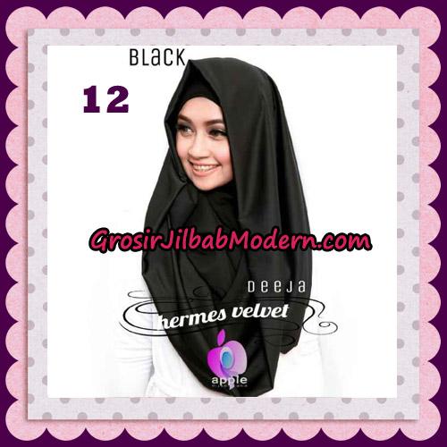 Jilbab Instant Deeja Hermes Velvet Modis Original By Apple Hijab Brand No 12 Black