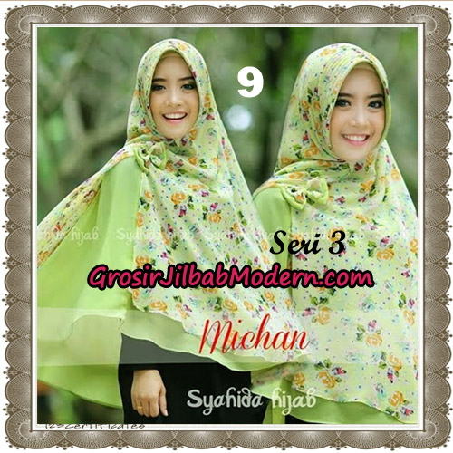Jilbab Kombinasi Bunga dan Polos Khimar Michan Pet Seri 3 Original by Syahida No 9