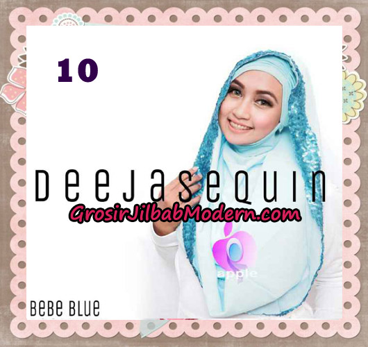 Jilbab Modern Instant Cantik Deeja Sequin Original By Apple Hijab Brand No 10 Baby Blue
