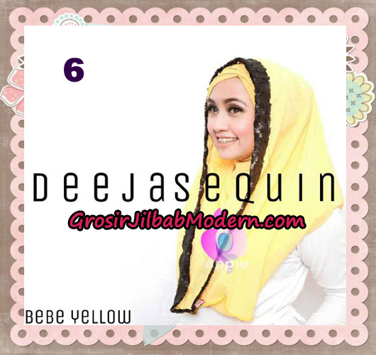 Jilbab Modern Instant Cantik Deeja Sequin Original By Apple Hijab Brand No 6 Yellow