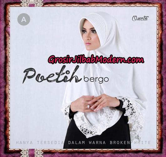 Jilbab Syar'i Cantik Poetih Bergo Supported By Oneto Motif Renda A