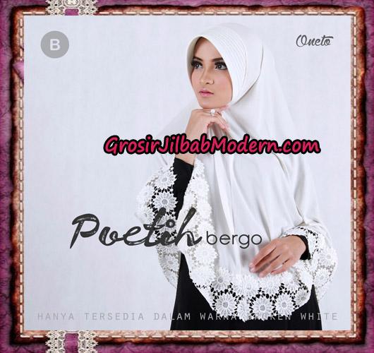 Jilbab Syar'i Cantik Poetih Bergo Supported By Oneto Motif Renda B