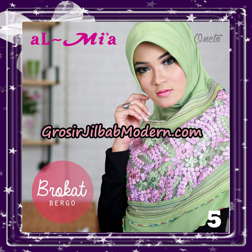 Jilbab Brokat Bergo Almia Cantik Original By Almia ( Al-Mi'a Brand ) No 5