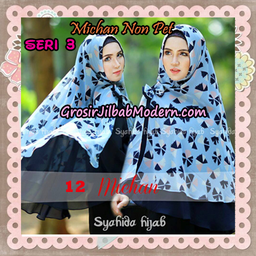 Jilbab Cerutti Kombinasi Polos dan Flower Khimar Michan Non Pet Seri 3 Original by Syahida Brand No 12