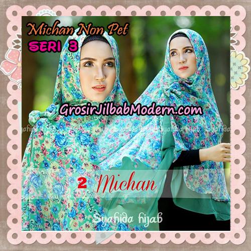 Jilbab Cerutti Kombinasi Polos dan Flower Khimar Michan Non Pet Seri 3 Original by Syahida Brand No 2