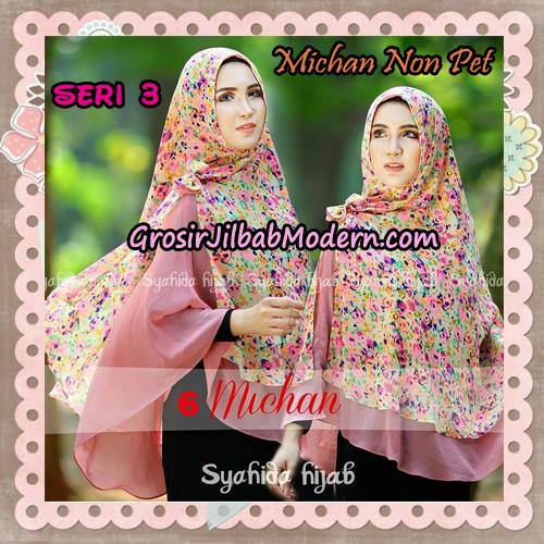Jilbab Cerutti Kombinasi Polos dan Flower Khimar Michan Non Pet Seri 3 Original by Syahida Brand No 6