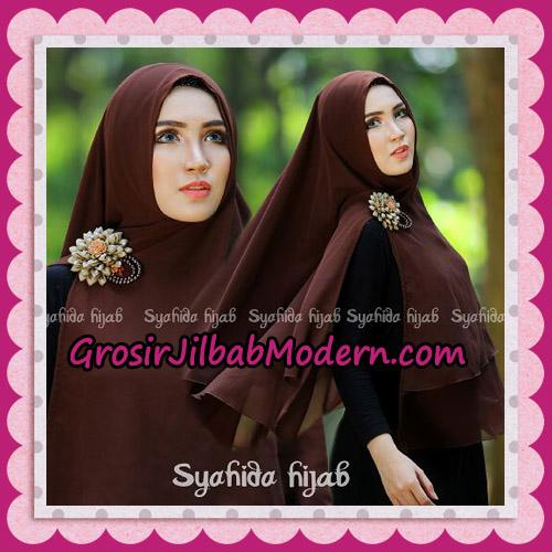 Jilbab Khimar Syar'i Atika Non Pet Original By Syahida Hijab Brand - Coklat Tua