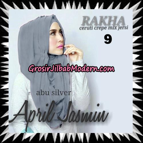 Jilbab Hoodie Instant Cantik Ala April Jasmine Seri 2 Original By Rakha Brand No 9 Abu Silver ( Abu Muda )